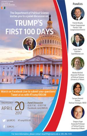 Flyer for event discussing Trump's first 100 days