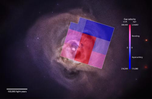 Perseus cluster with gas velocity data captured by the Hitomi satellite