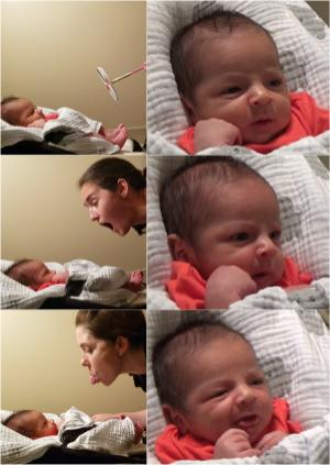 Dr. Elizabeth Simpson shares facial expressions with a newborn baby who mimics her actions.