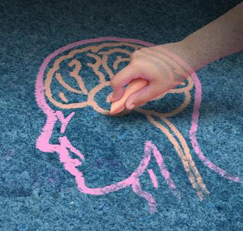 drawing of someone drawing the brain